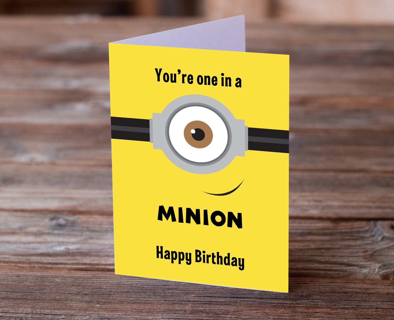 Minions Despicable Me Birthday Card Minions Bday Card Minion Etsy Minion Card Minion Birthday Card Birthday Card Pictures