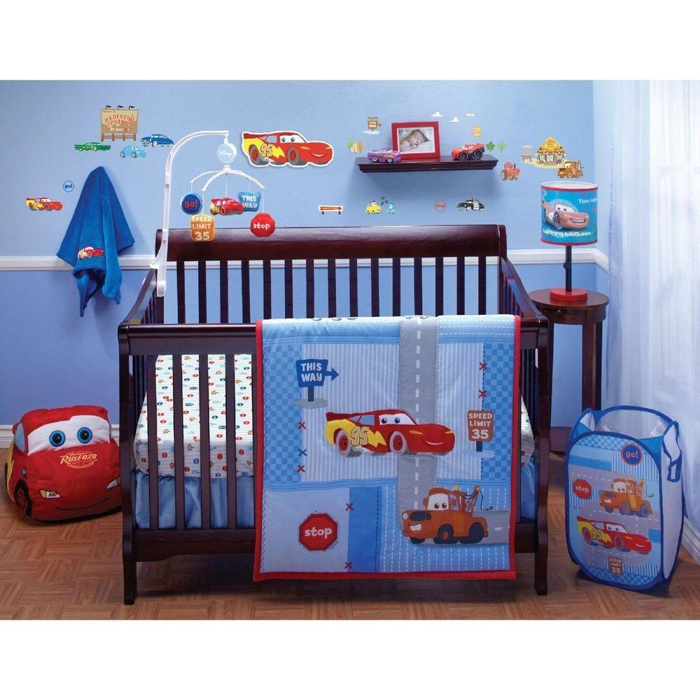 Disney Pixar Cars Baby Boy Crib 4 Piece Bedding Set Mcqeen