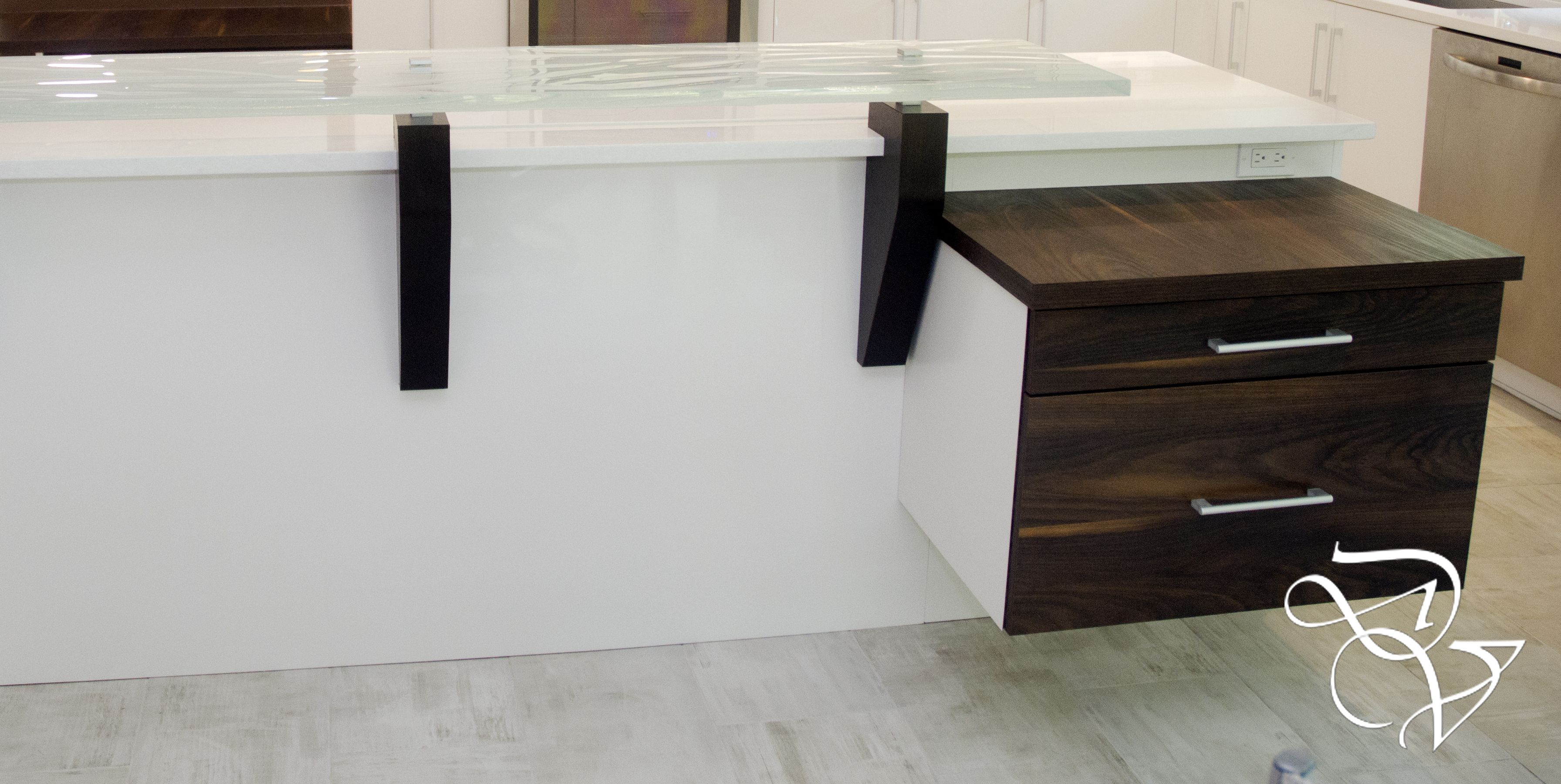 Concealed filing cabinet in two-toned kitchen by Da Vinci ...