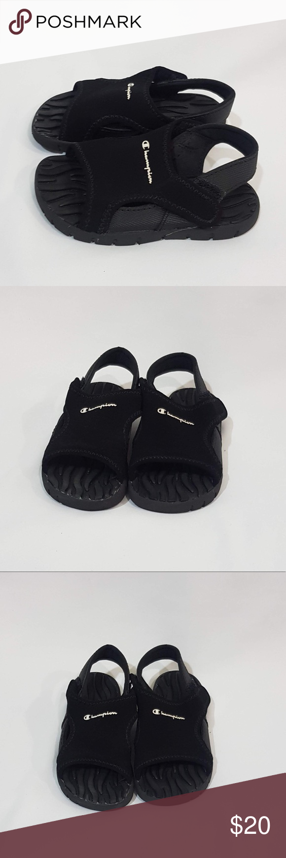 37a6812ffc172 Champion - toddler sandals Champion black sandals with the white logo.  Excellent condition. Champion Shoes Sandals   Flip Flops