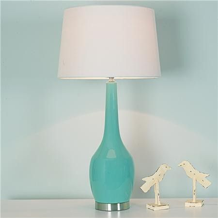 Attractive Long Neck Ceramic Table Lamp, Soft Turquoise   Contemporary   Table Lamps    Shades Of