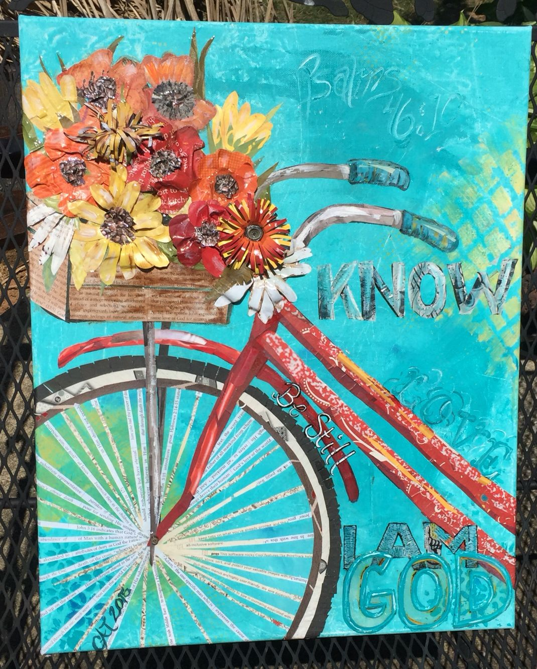 Mixed Media Canvas Word Art Bicycle And Flowers Be Still Know That