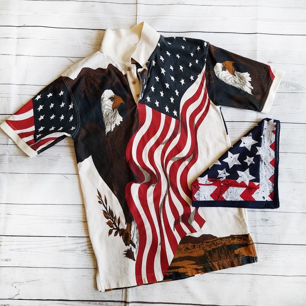 c48ce44248 Clearwater Outdoors American Flag Shirt Small S Eagle Patriotic w   Handkerchief