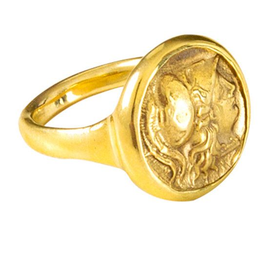 18k Solid Gold Coin Ring Chevalier Gold Coin Ring