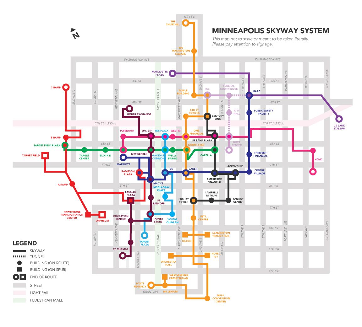 photo regarding Minneapolis Skyway Map Printable named A skyway map for Minneapolis motivated via the effort of Mimo