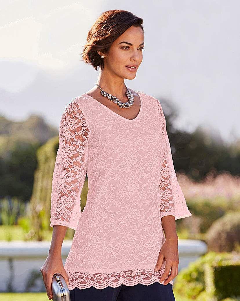 3435428573b Joanna Hope Lace Tunic | Products | Lace tunic, Lace, Stretch lace