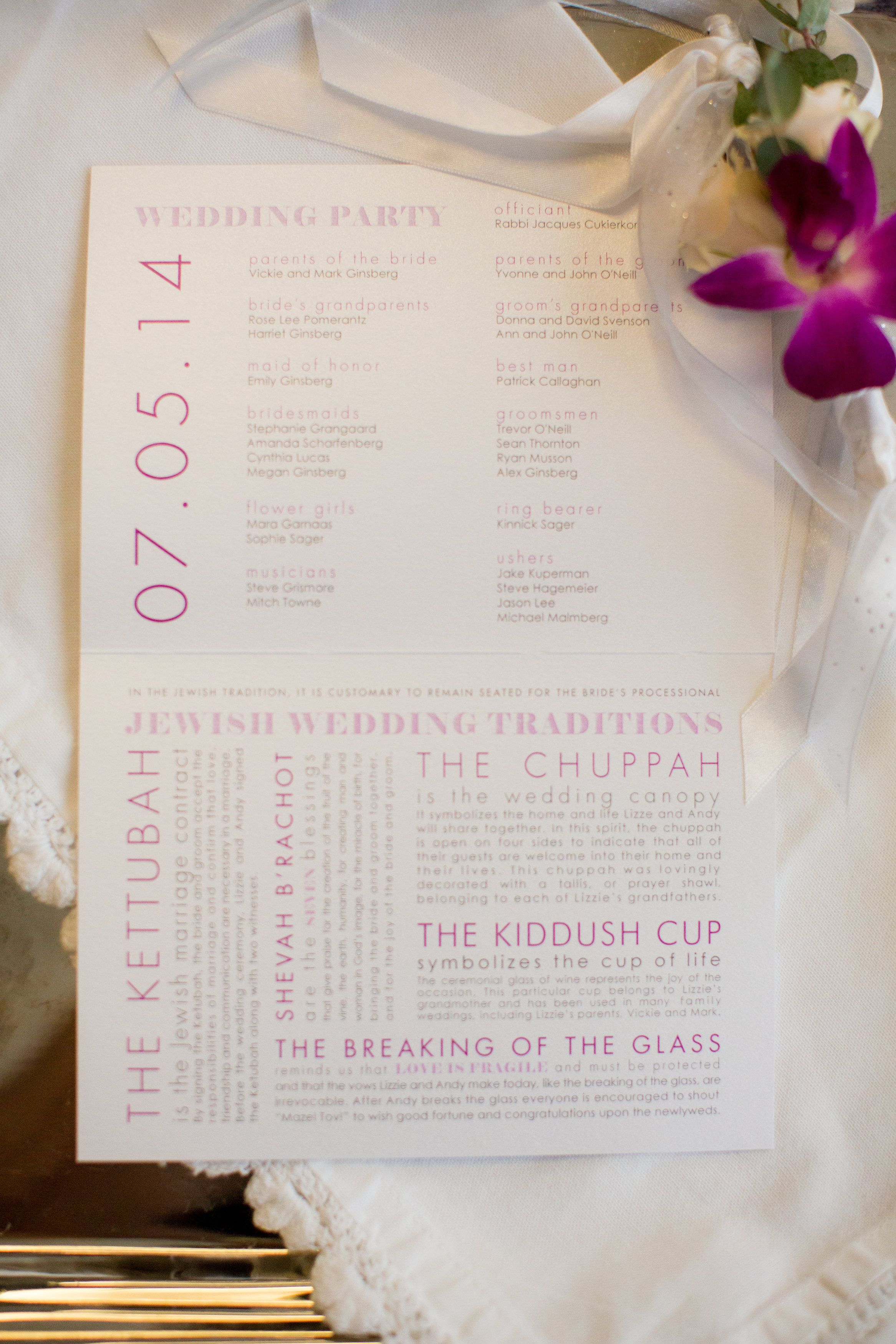 Jewish Wedding Ceremony Programs Folded Modern Zephyr Weddings