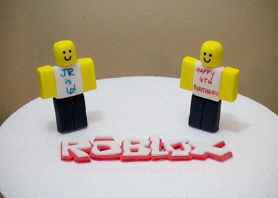 Roblox Newb Charachter Logo Fondant Cake Topper Set 7th Birthday Cakes Roblox Fondant Cake Topper