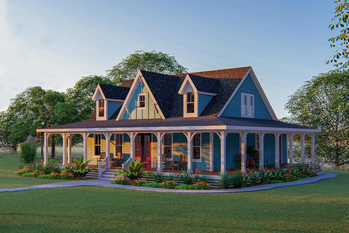 Plan 500051VV: 3-Bed Country Home Plan With 3-Sided