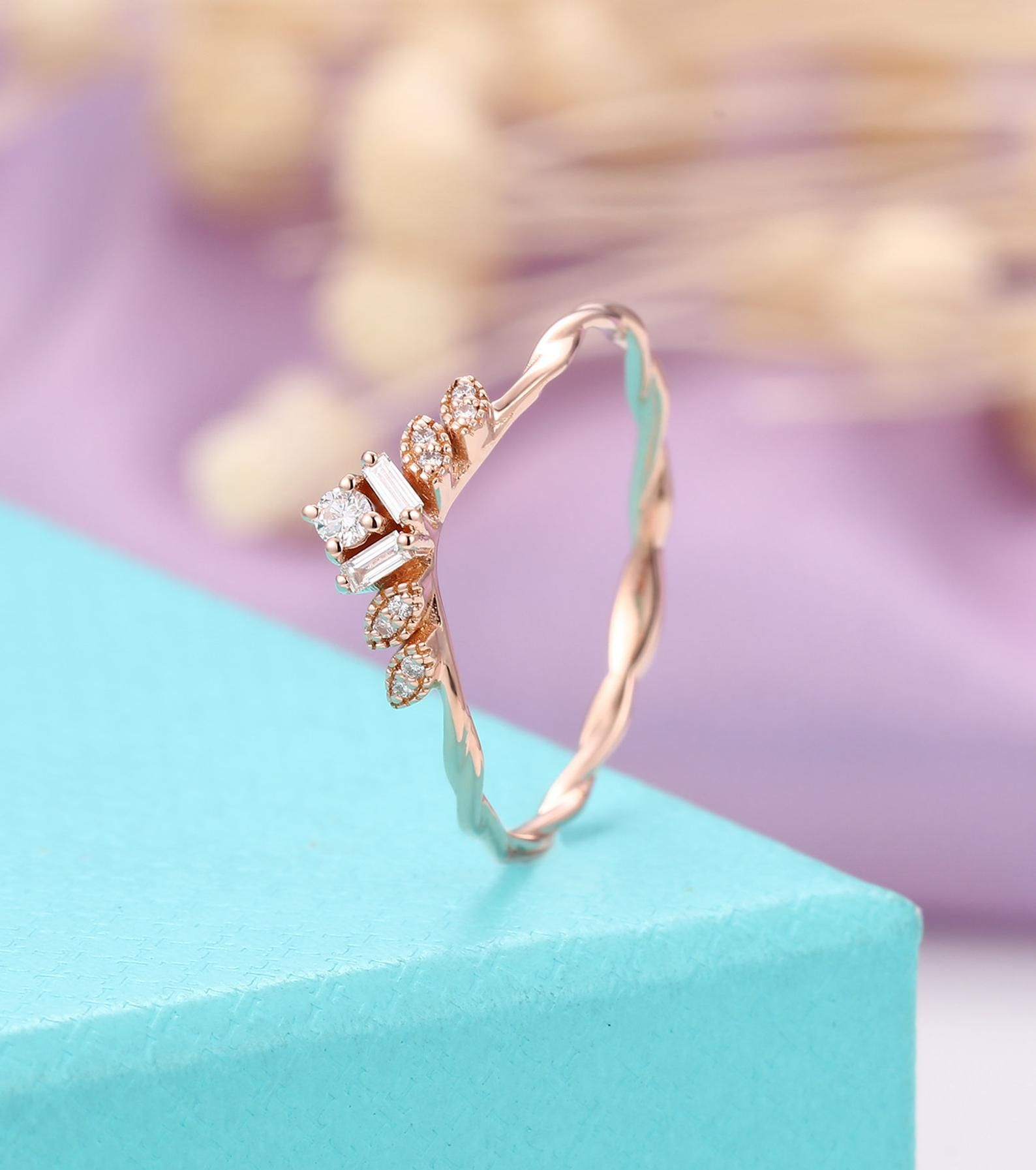 Art deco wedding band rose gold women, Baguette diamond