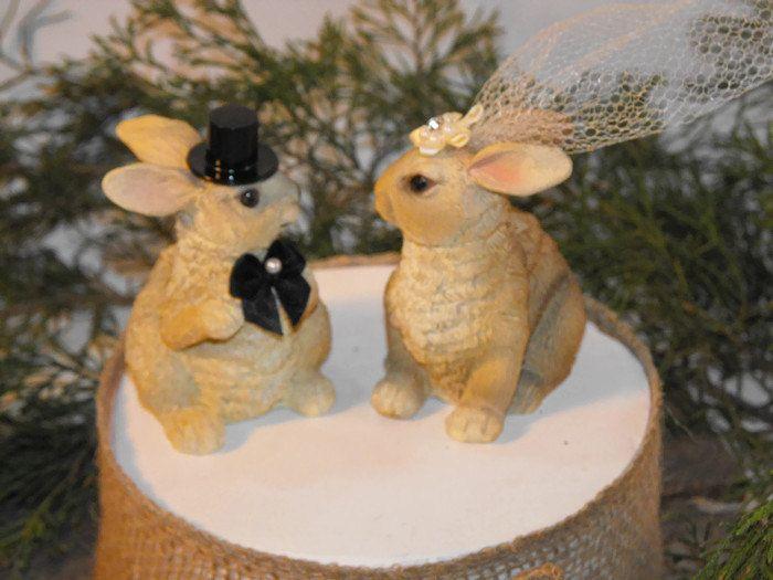 Rabbit Wedding Cake topper, Bunny cake topper,  wedding cake topper, rustic wedding, wedding topper wood by OzarkPartySupply on Etsy