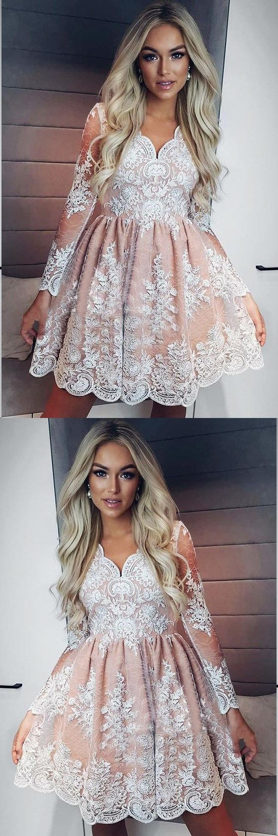 Long sleeve homecoming dresses lace aline short prom dress party