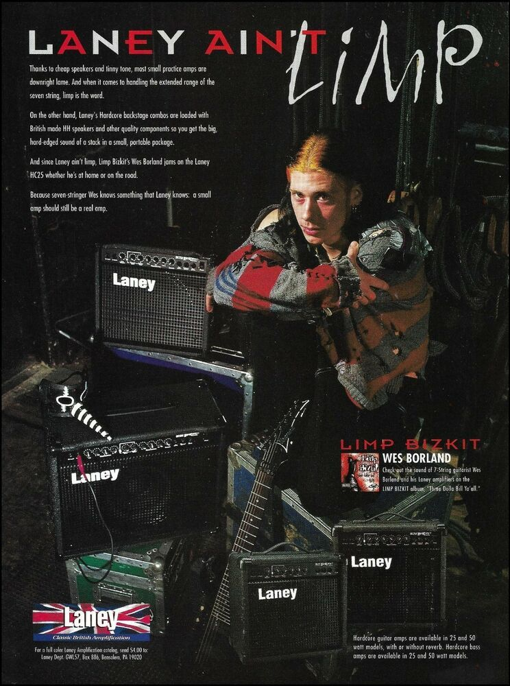 Wes Borland Limp Bizkit 1998 Laney Hc25 Guitar Amp Ad 8 X 11 Advertisement Laney Limp Bizkit Guitar Magazine Guitar Amp