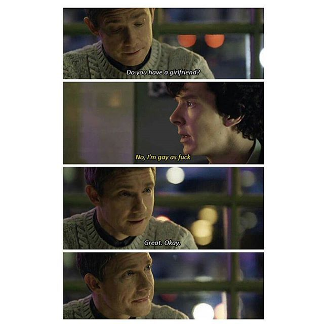"""Sometimes i feel like why would they be doing things like giving the best cosplay to The Gay Elephant if it wasn't for the impending johnlock canon and sometimes i feel like why would they say """"that's not the story we want to tell"""" after coming so close to season four like what would they gain by saying this they could have easily ignored that question but they answered it and it just kills all my hope for johnlock ever happening i am going to stop now"""