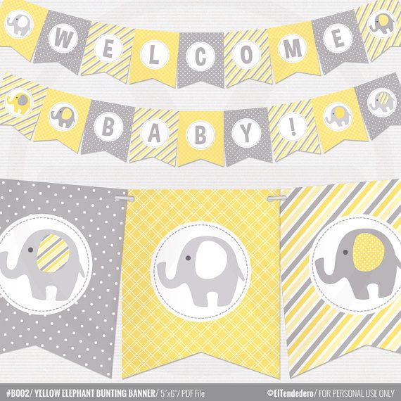 Yellow Elephant Baby Shower Banner