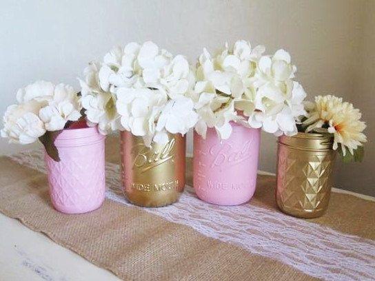 Baby Shower Mason Jar Set Baby Pink And Gold Flower Vases Kids