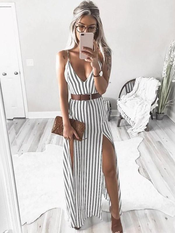 Sexy V-neck Striped Split-side Maxi Dresses