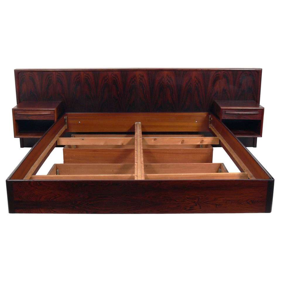 Danish Modern Floating Rosewood Bed With Integrated Nightstands For Sale Danish Modern Bedroom Furniture Danish Modern Modern Style Bed