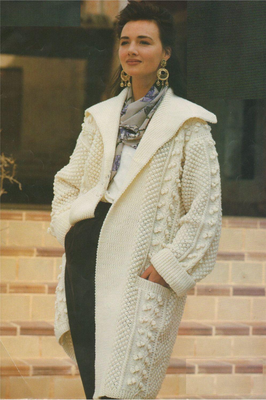 Womens Aran Coat PDF Knitting Pattern : Ladies 30 - 32, 34 - 36 and ...