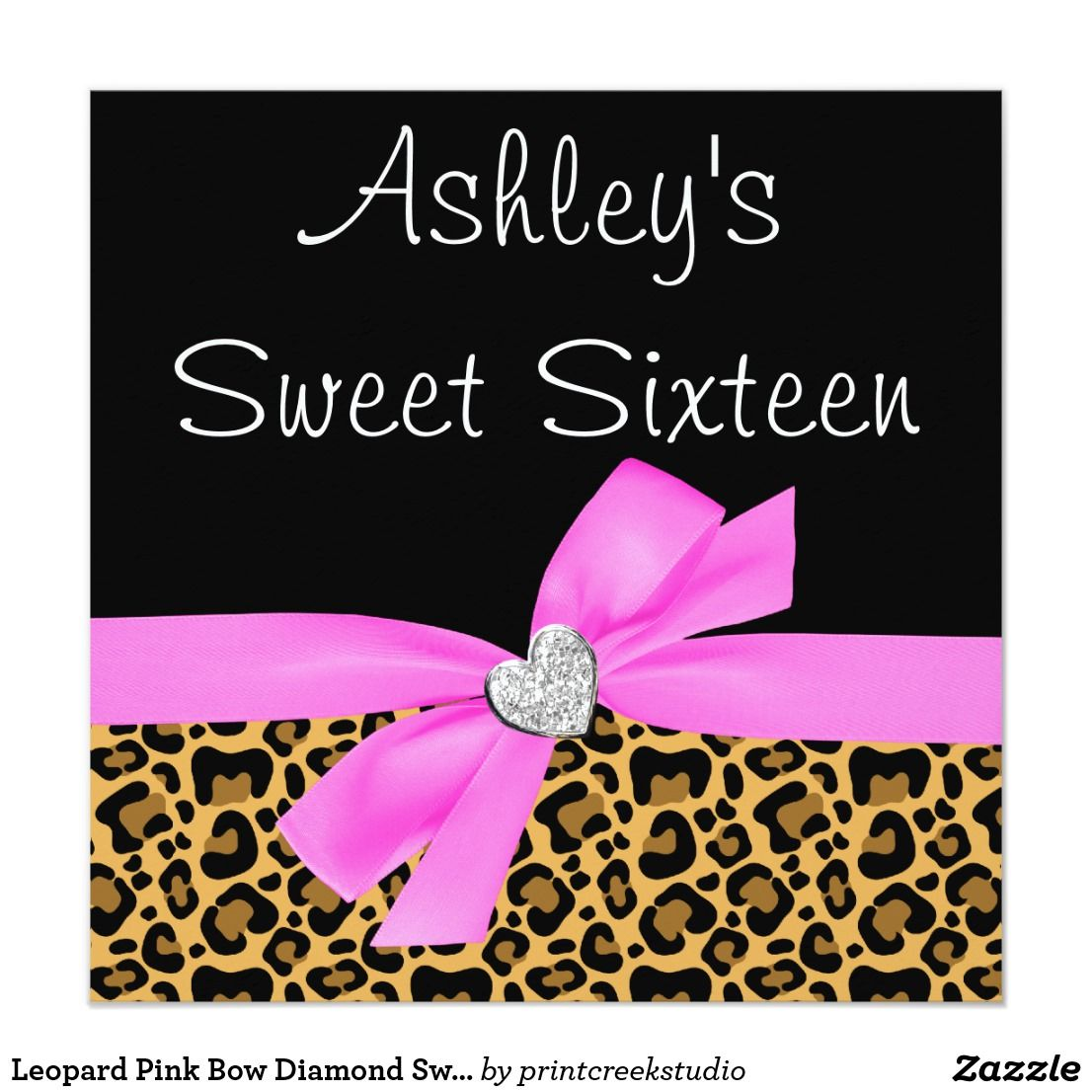 Leopard Pink Bow Diamond Sweet 16 Invitations Sweet 16 invitations