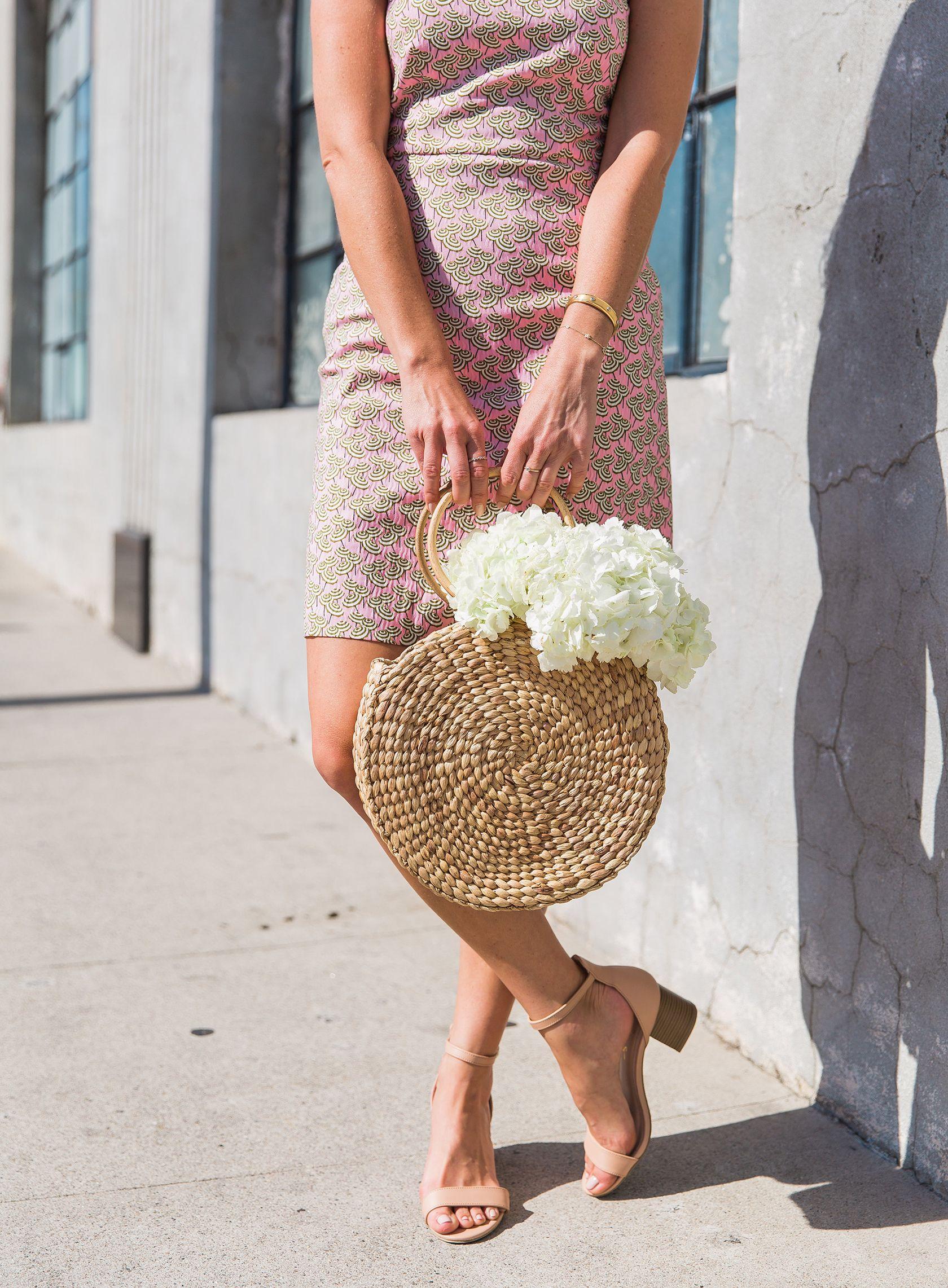 1eff7779eef9 Sydne Style shows the best summer handbags with ellen james straw basket bag  #pink #dresses #summeroutfits #strawbag