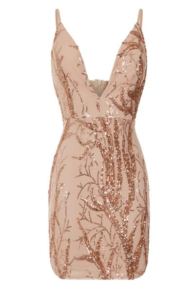... EVENING PARTY MIDI   MINI DRESSES by Nazz Collection. NAZZ COLLECTION  CAVALLI LUXE TREE ROSE GOLD PLUNGE LEAF EMBELLISHED SEQUIN DRESS 797ccf7369