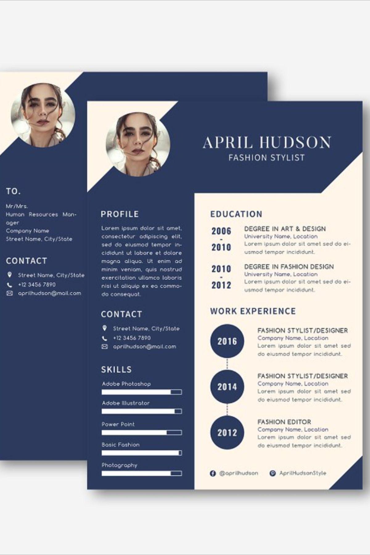 Hudson Fashion CV Resume Set in 2020 Resume design