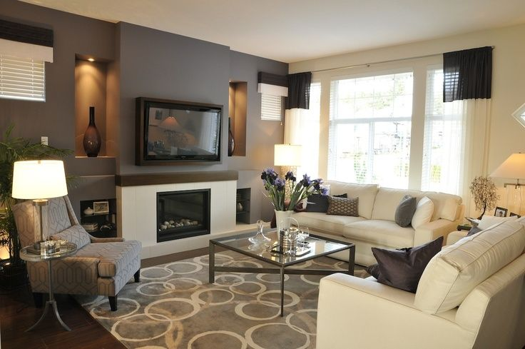 Superb Modern Living Space With Drak Grey Accent Wall. Creating Space Beside  Fireplace In Between Studs.