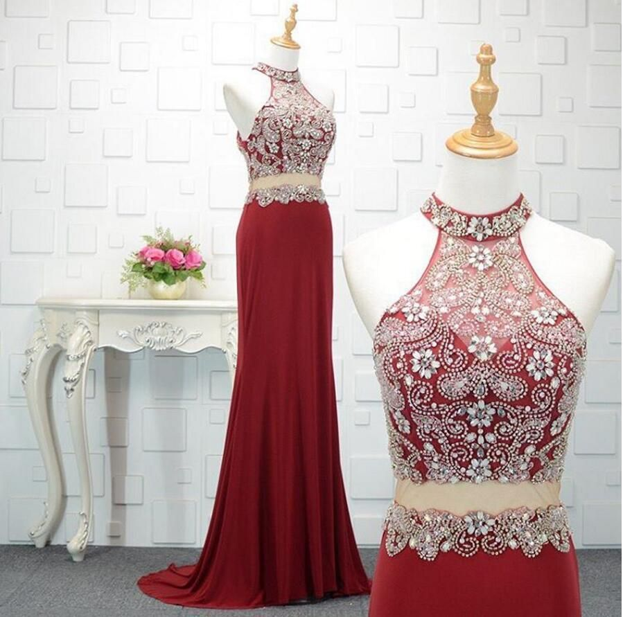 Sexy two pieces red mermaid beaded long evening prom dresses