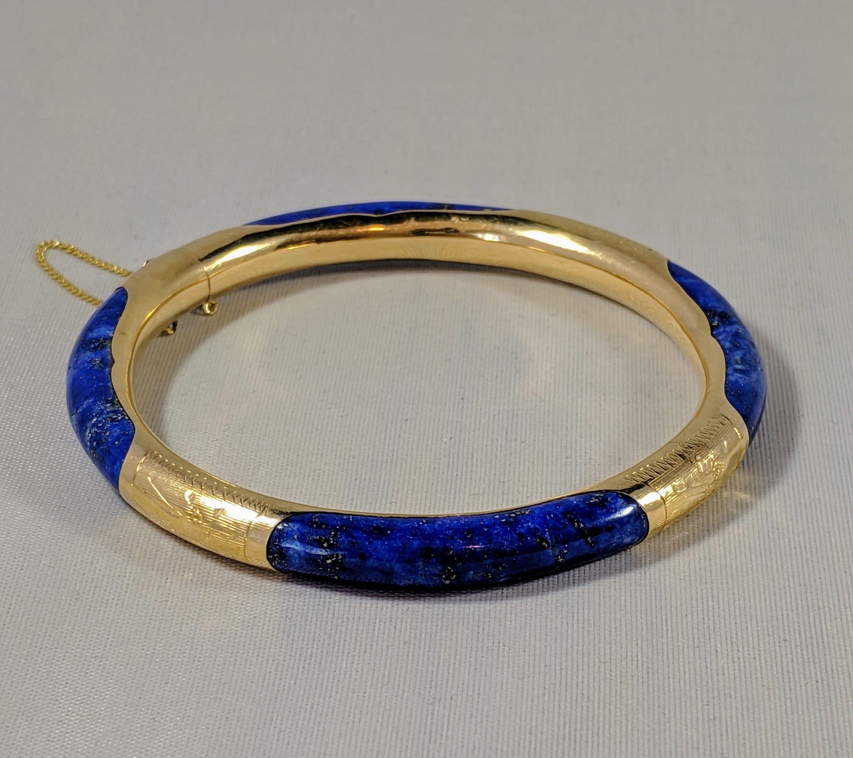 14k Lapis Lazuli Bracelet Vintage Lapis Hinged Bangle Bold 1980s Jewelry Etched 14k Yellow Gold Bangl 1980s Jewelry Yellow Gold Bangle Lapis Lazuli Bracelet