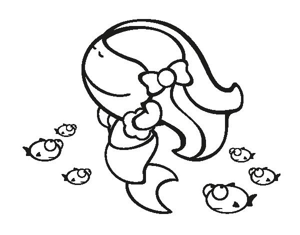 Dibujo de Sirena feliz para Colorear | Dibujos de Sirenas ...