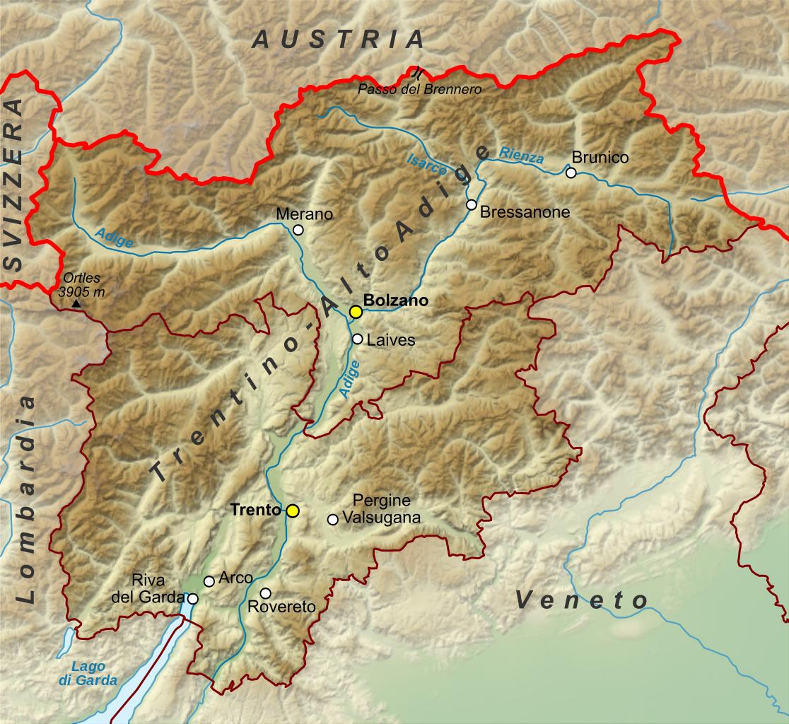 Lago Di Garda Cartina Fisica.Alto Adige Mappa Alto