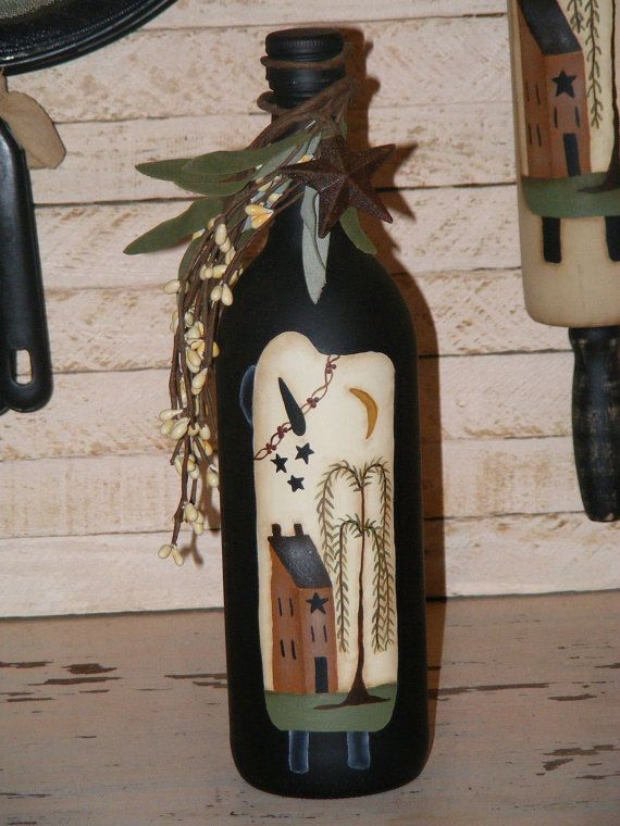Primitive DecorHandpainted Wine Bottle with a prim by theprimplace