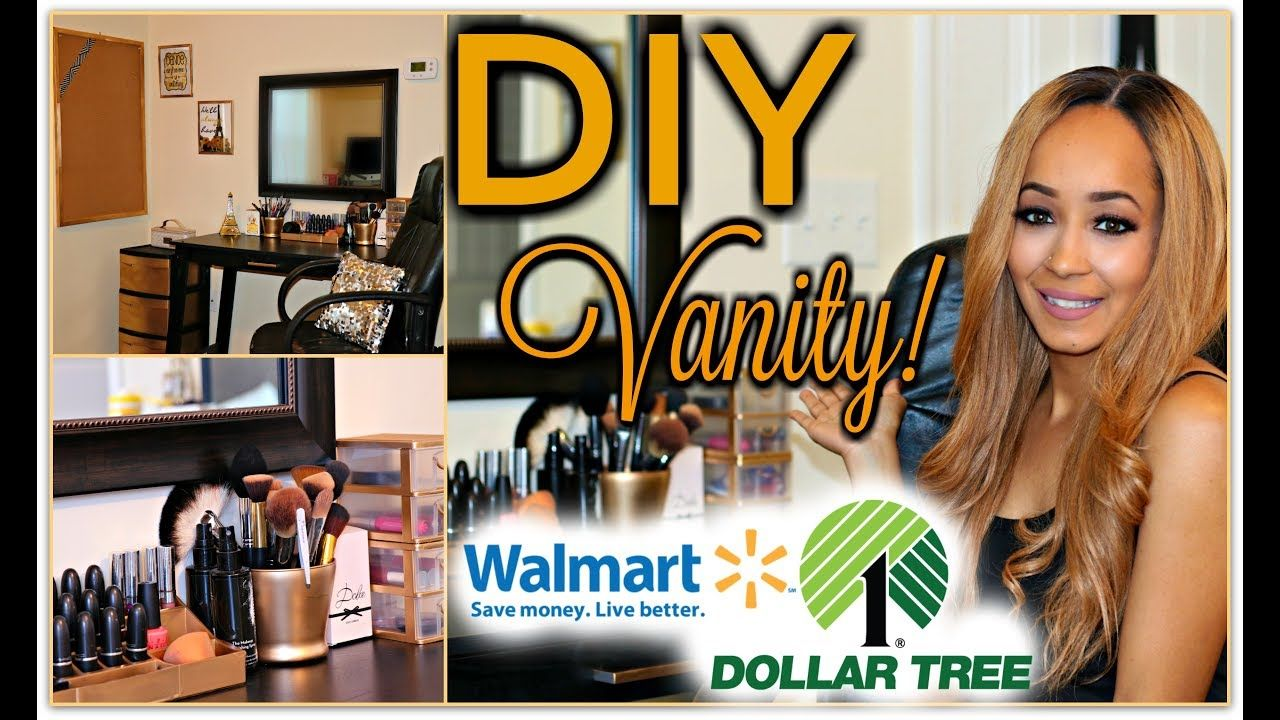DOLLAR TREE & WALMART DIY Vanity Set Up Vanity On A