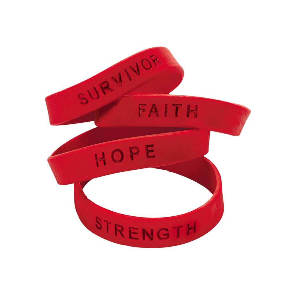 Red Ribbon Awareness Sayings Rubber Bracelets Products