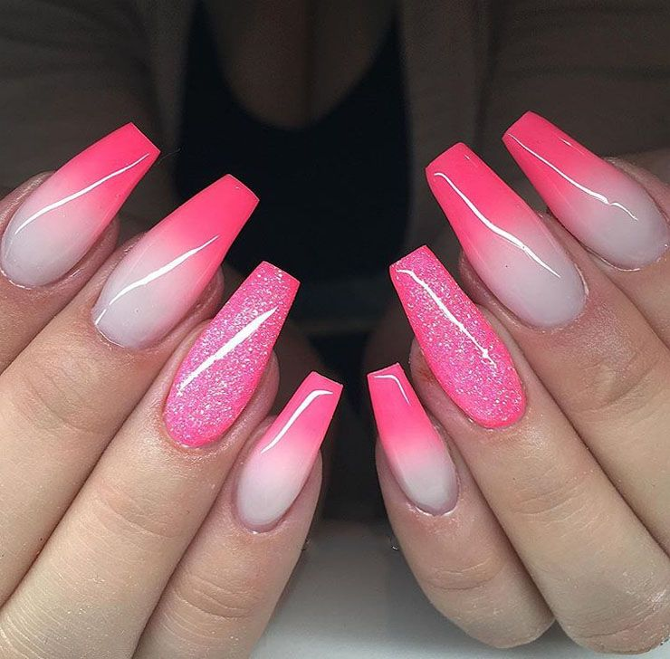 24 Baby Pink Shaded Coffin Nail With Glitter Touch 2018 Nails