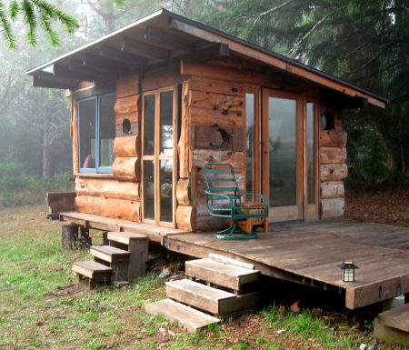 Cabin Deep In The Woods Of Northern California. Spring Water And Solar  Power And Scavenged Wood And Antique Portholes From Real Ships   From Tiny  House ...