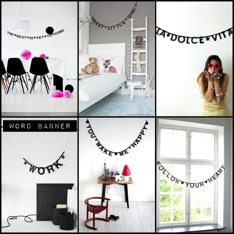 Garland . DIY Letter Banner - Black | Diy letters, Night night and ...