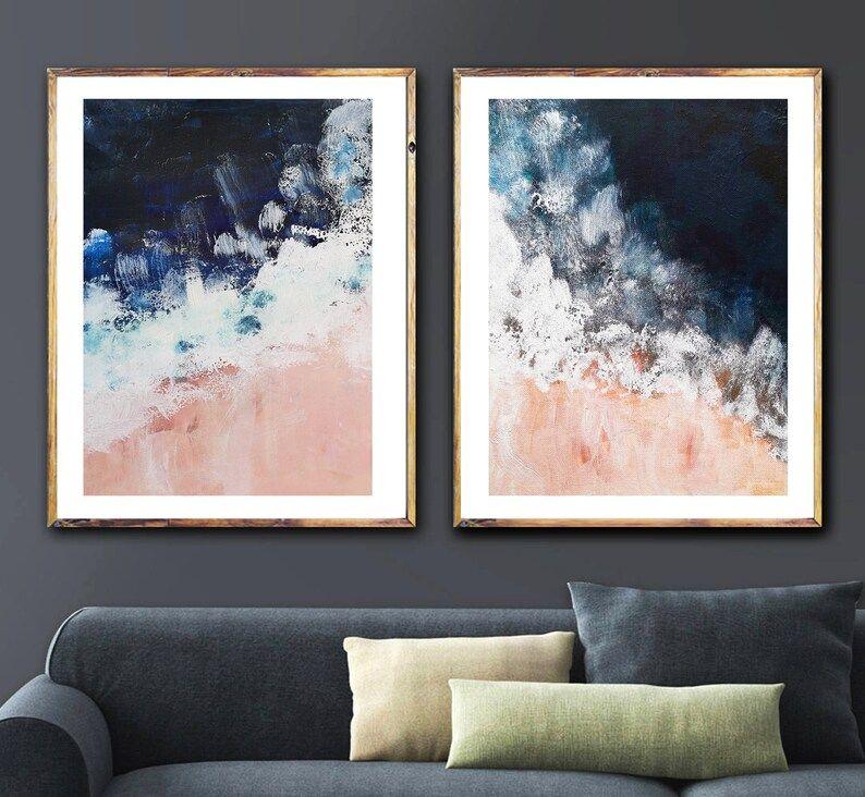 Blush Pink Nautical Set Of 2 Navy Indigo Ocean Art Navy Blue Etsy In 2020 Navy Blue Wall Art Blue Wall Art Blue Abstract Art