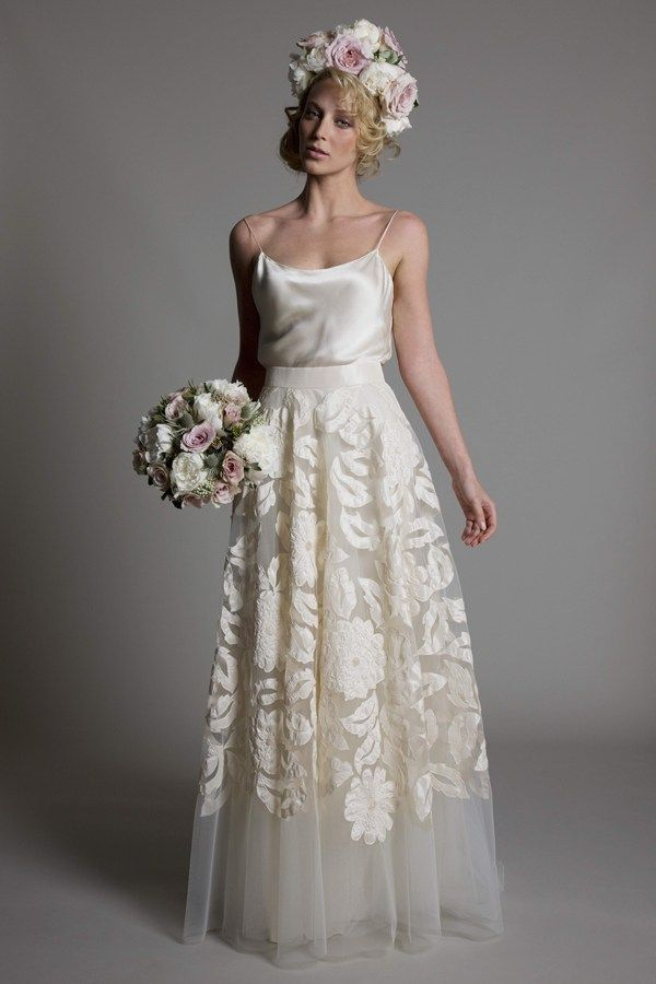 2 Piece Wedding Dress Satin Top And Embellished Tulle Skirt Love