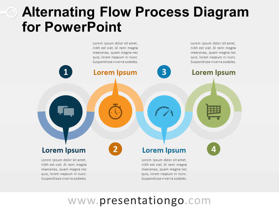 Alternating Flow Process Diagram For Powerpoint Presentationgo Com Flow Chart Template Flow Chart Powerpoint