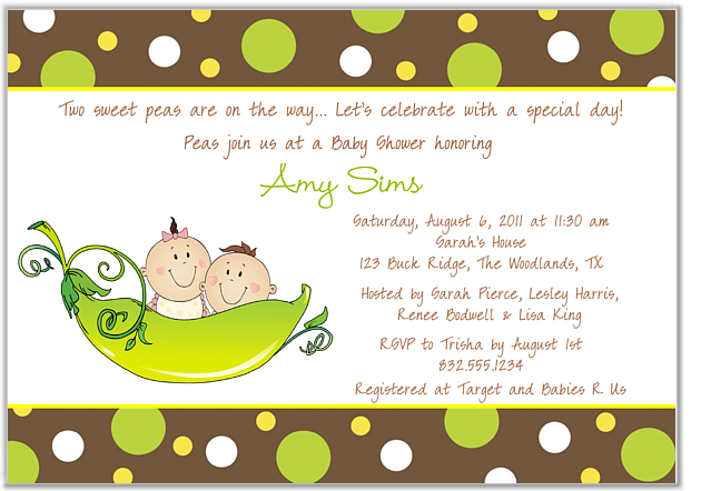 Two Peas In A Pod Twins Baby Shower Invitations Boy Girl Baby