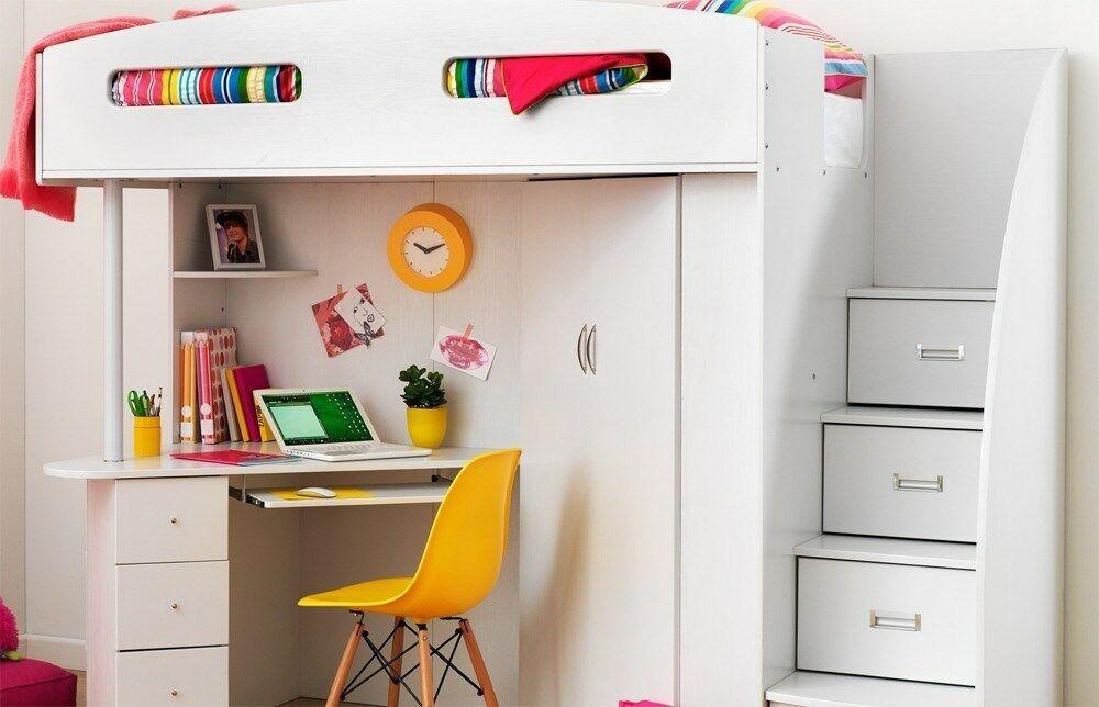 Single Loft Bunk Bed Desk Bookcase Wardrobe Storage All White Kids
