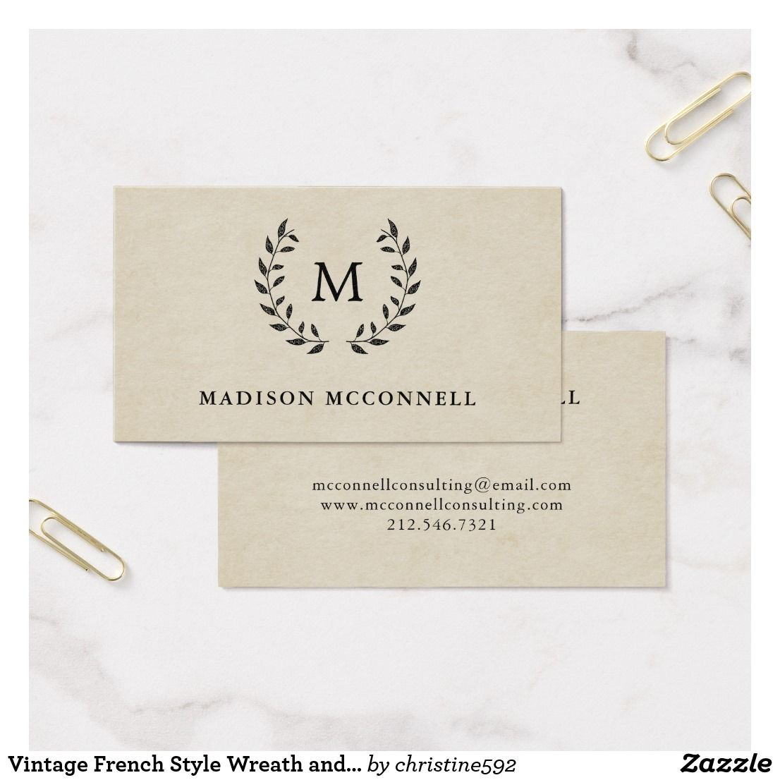 Vintage French Style Wreath and Monogram Business Card   Business ...
