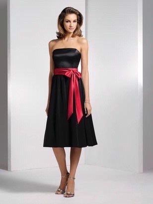 Bridesmaid Dress Black With Red Sash