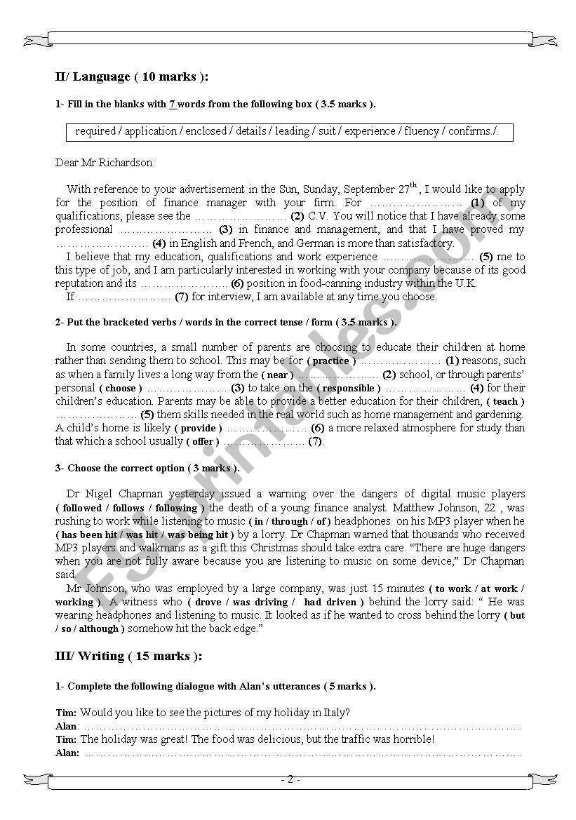 Bac Mock Exam 4th form, Tunisia  | Anglais | Esl, Reading