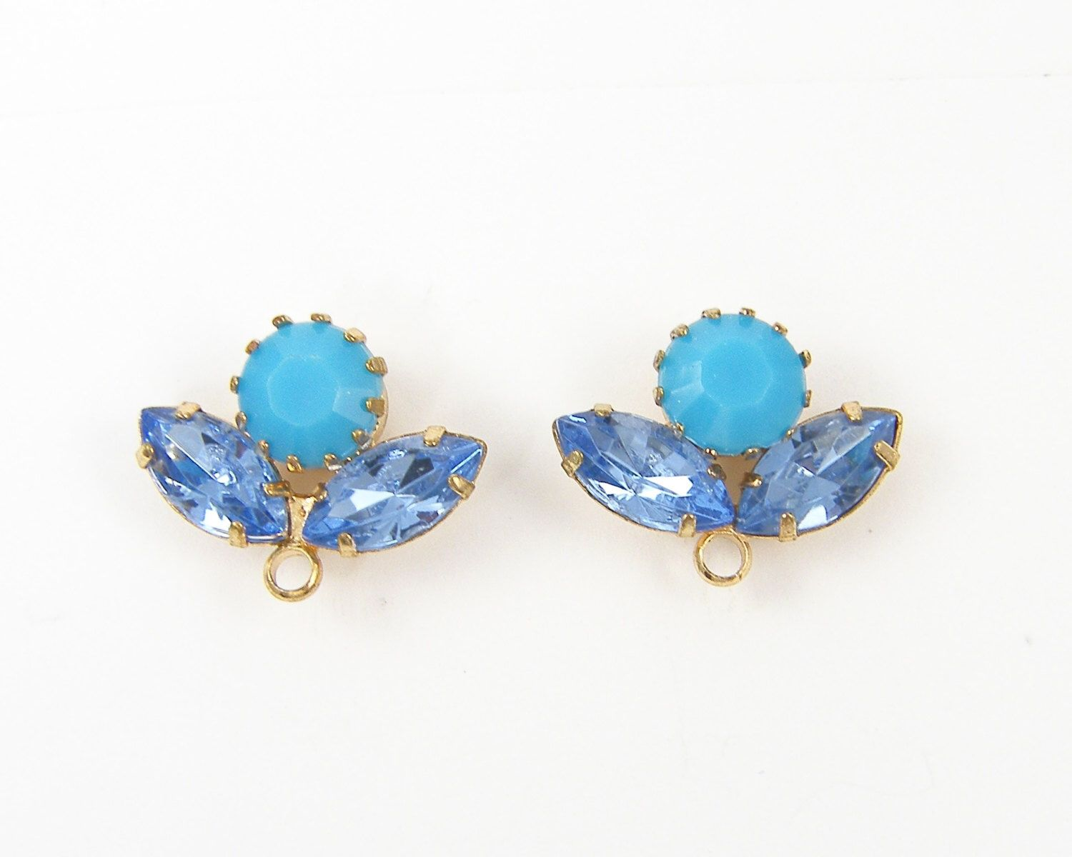 Turquoise Blue Gold Earring Posts Rhinestone for DIY Bridal Special Occasion Jewel Earring Posts  Findings by TheBeadDreamer on Etsy https://www.etsy.com/listing/174325661/turquoise-blue-gold-earring-posts