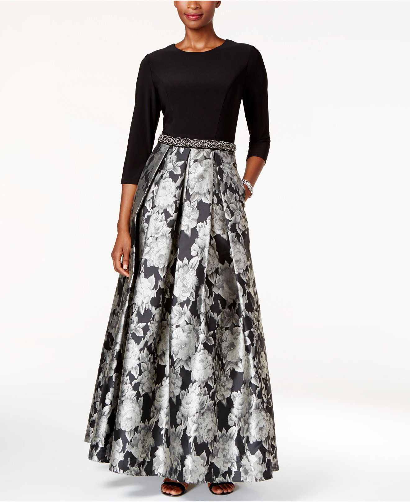 Alex Evenings Embellished Floral-Print Ball Gown - Dresses - Women ...