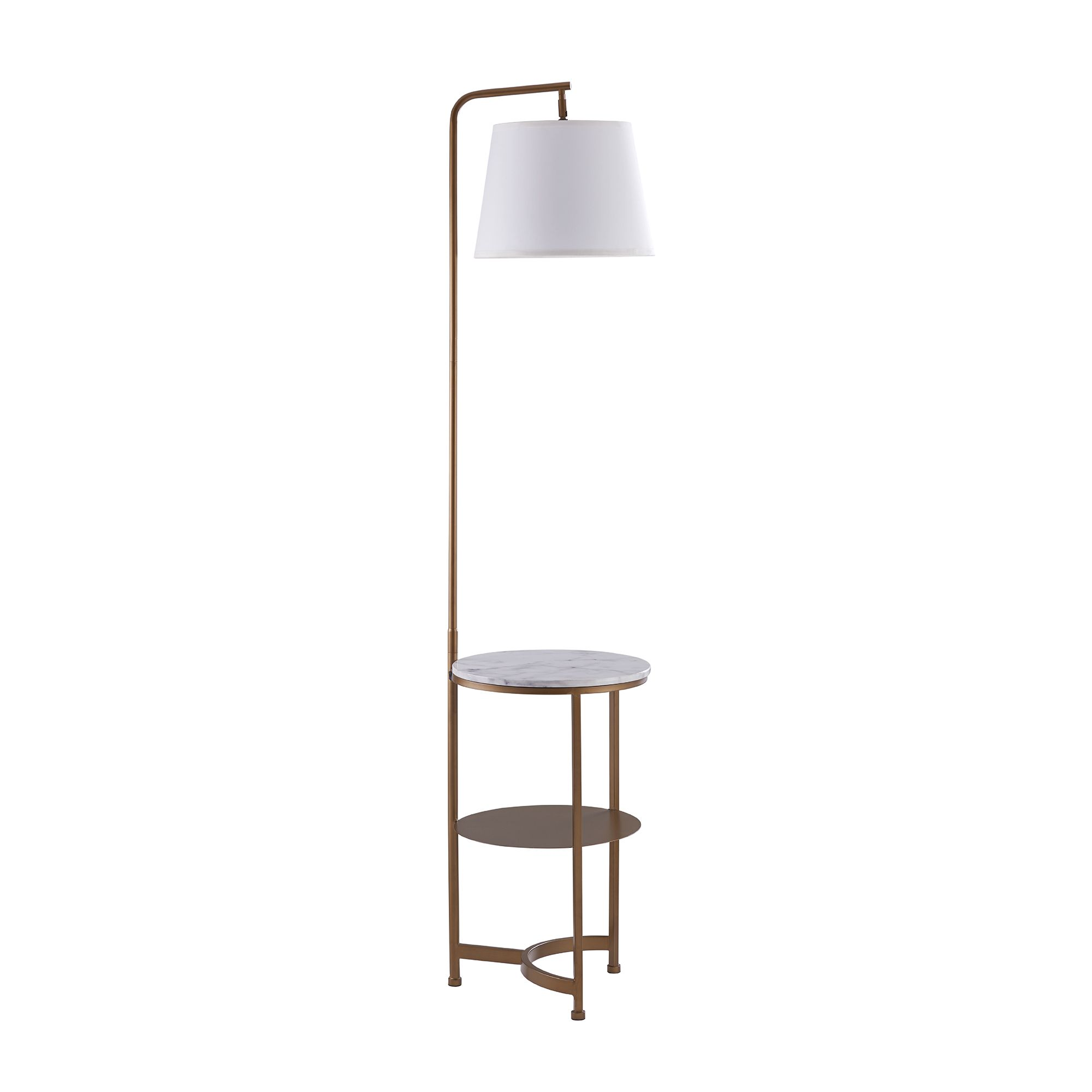 Versanora Lilah Floor Lamp With Usb Port Faux Marble Table And White Shades Walmart Com Gold Floor Lamp Led Floor Lamp Floor Lamp