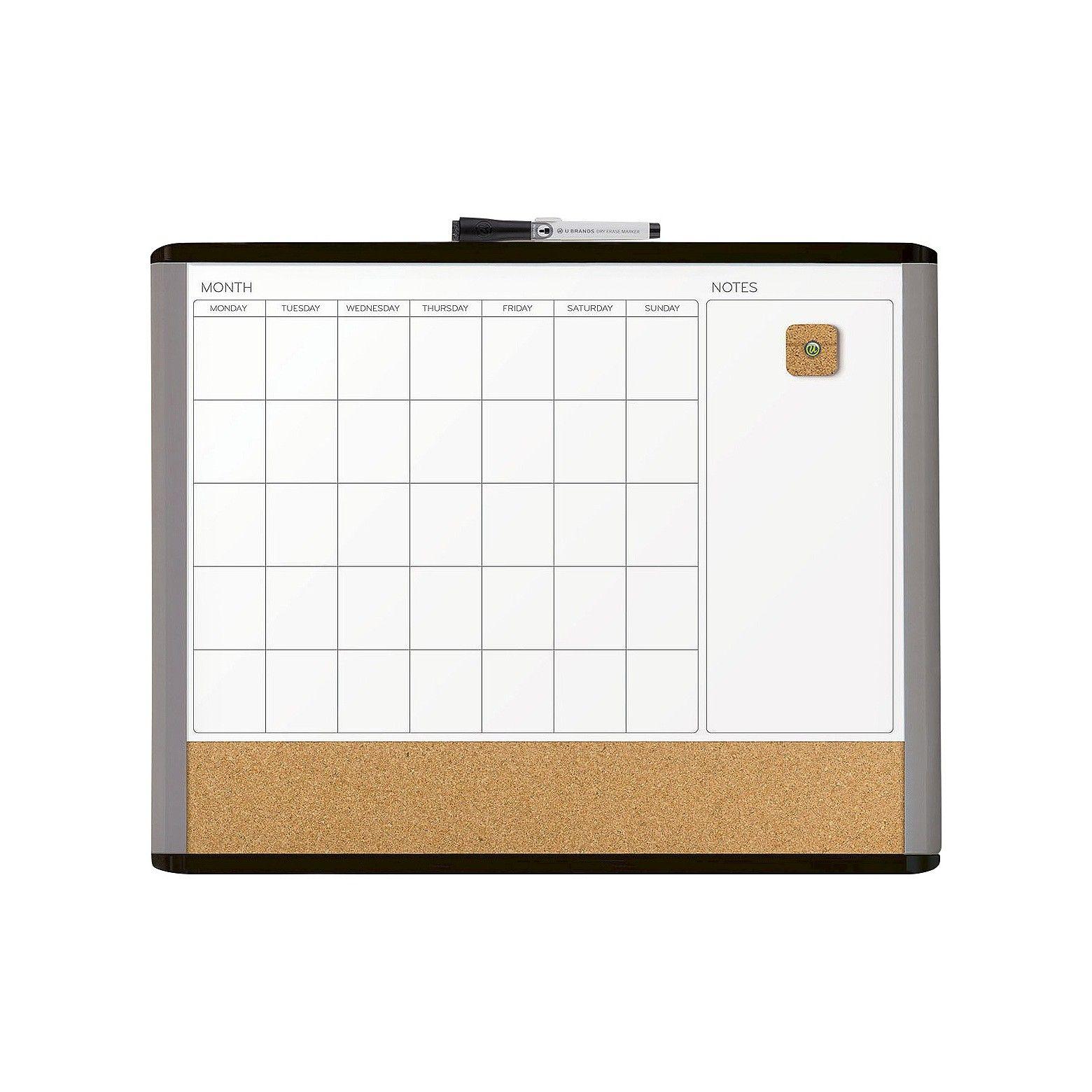 Whiteboard Calendar And Cork Board Dry Erase Calendar Calendar